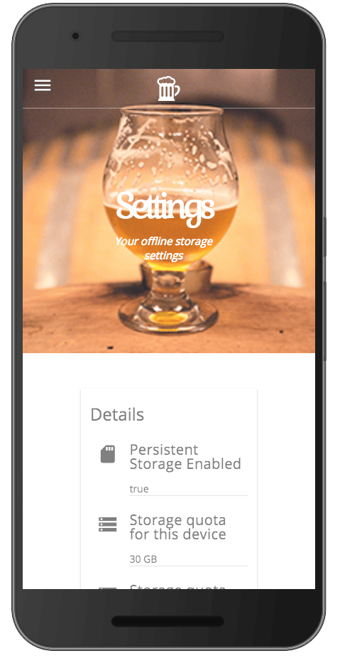 Storage Estimate - Progressive Web App